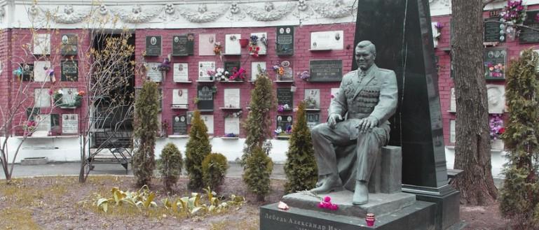 Пешеходная экскурсия по Новодевичьему кладбищу. Могила генерала А. И. Лебедя